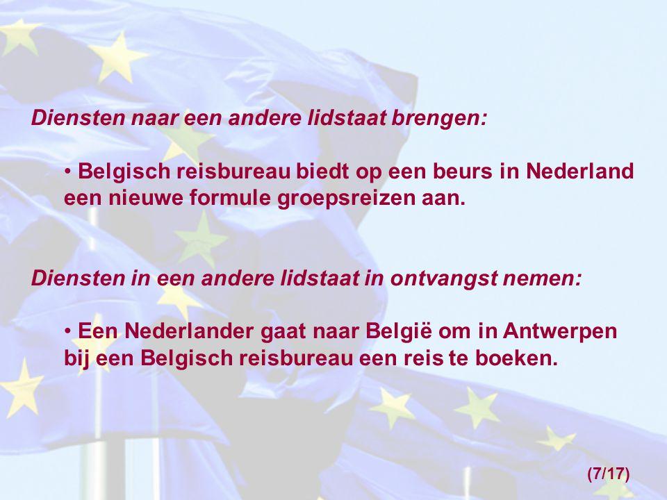 Diensten naar een andere lidstaat brengen: Belgisch reisbureau biedt op een beurs in Nederland een nieuwe formule groepsreizen aan.