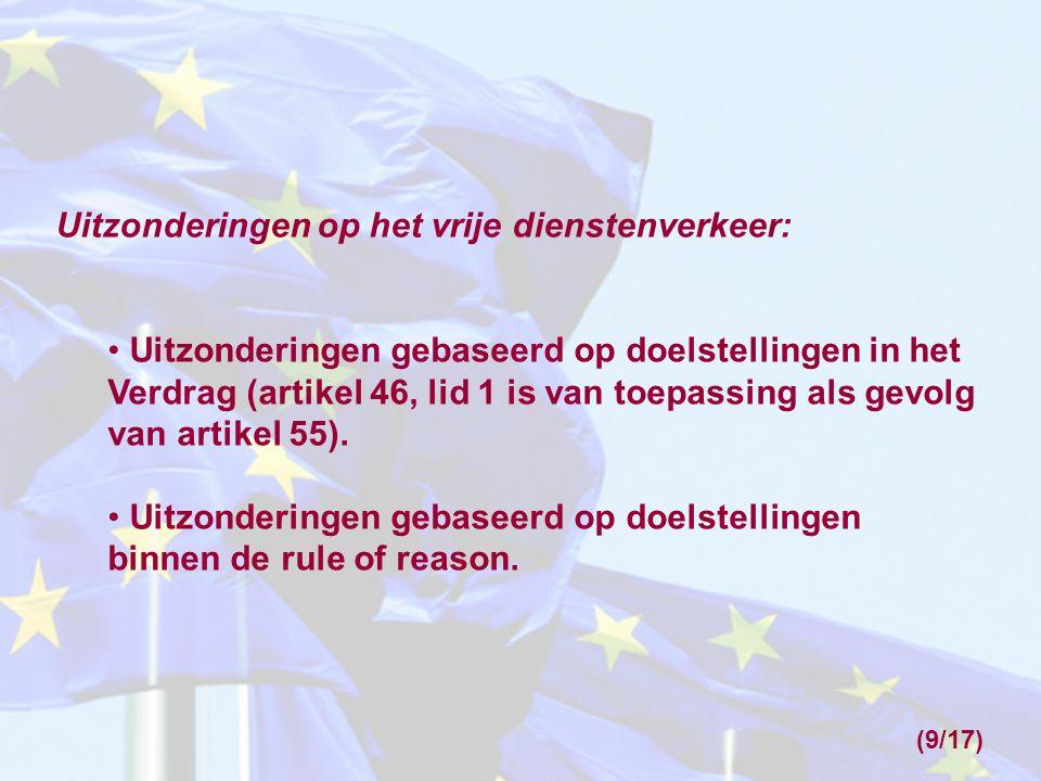 Uitzonderingen op het vrije dienstenverkeer: Uitzonderingen gebaseerd op doelstellingen in het Verdrag (artikel 46, lid 1 is van toepassing als gevolg van artikel 55).