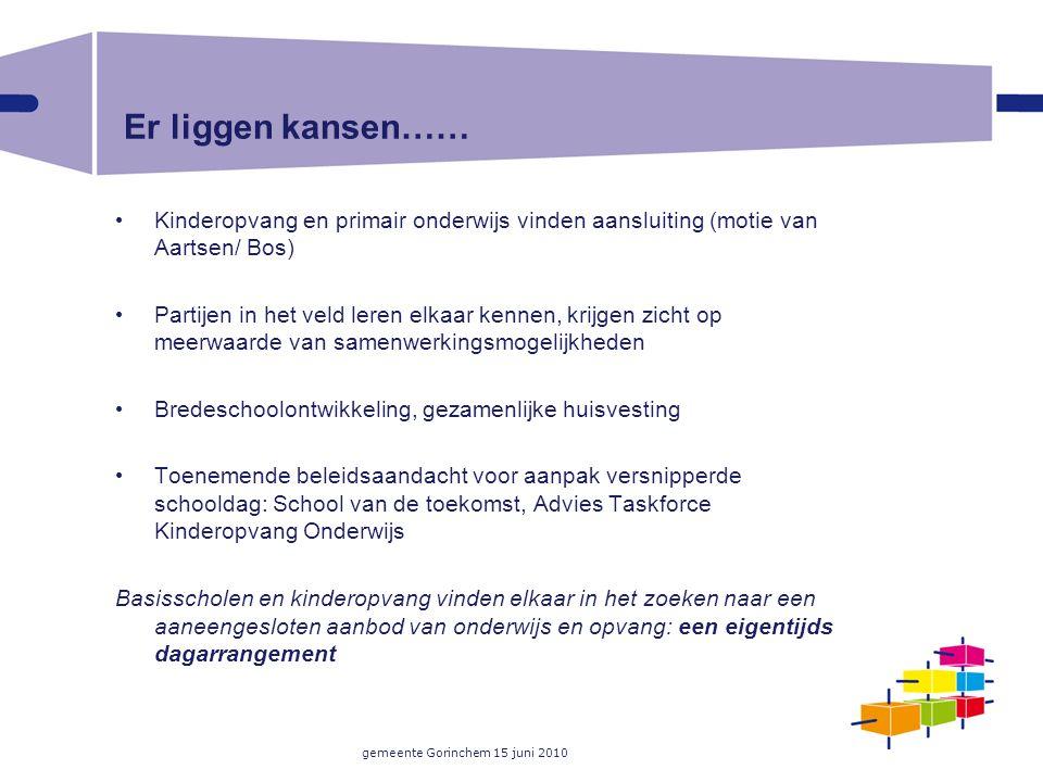 gemeente Gorinchem 15 juni 2010 Er liggen kansen…… Kinderopvang en primair onderwijs vinden aansluiting (motie van Aartsen/ Bos) Partijen in het veld