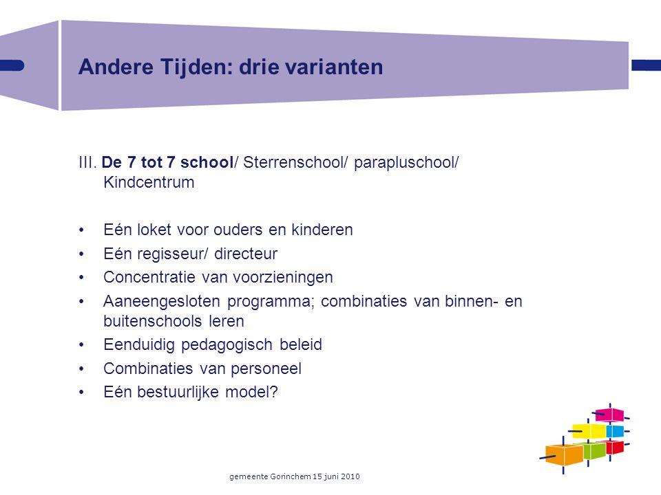 gemeente Gorinchem 15 juni 2010 Andere Tijden: drie varianten III. De 7 tot 7 school/ Sterrenschool/ parapluschool/ Kindcentrum Eén loket voor ouders