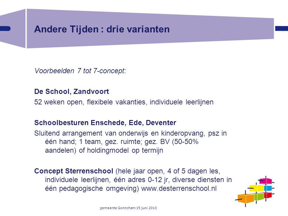 gemeente Gorinchem 15 juni 2010 Andere Tijden : drie varianten Voorbeelden 7 tot 7-concept: De School, Zandvoort 52 weken open, flexibele vakanties, i
