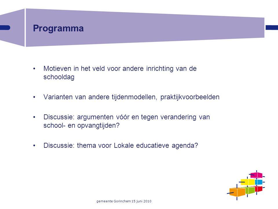 gemeente Gorinchem 15 juni 2010 Programma Motieven in het veld voor andere inrichting van de schooldag Varianten van andere tijdenmodellen, praktijkvo