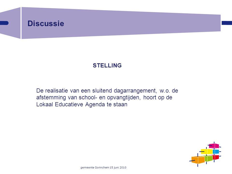 gemeente Gorinchem 15 juni 2010 Discussie STELLING De realisatie van een sluitend dagarrangement, w.o. de afstemming van school- en opvangtijden, hoor