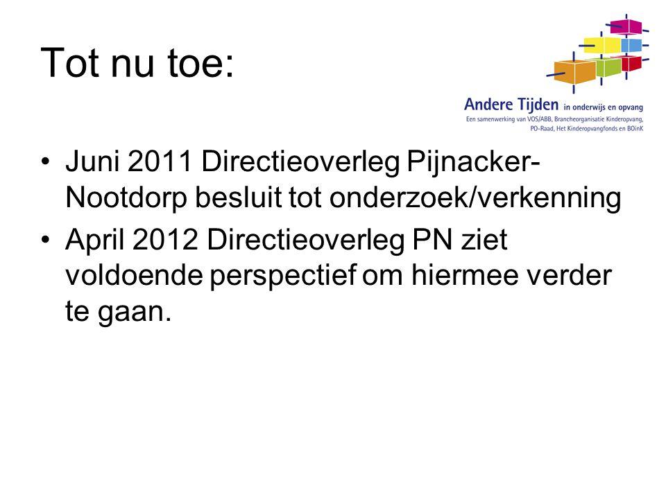 Tot nu toe: Juni 2011 Directieoverleg Pijnacker- Nootdorp besluit tot onderzoek/verkenning April 2012 Directieoverleg PN ziet voldoende perspectief om