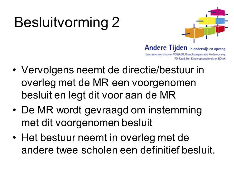 Besluitvorming 2 Vervolgens neemt de directie/bestuur in overleg met de MR een voorgenomen besluit en legt dit voor aan de MR De MR wordt gevraagd om