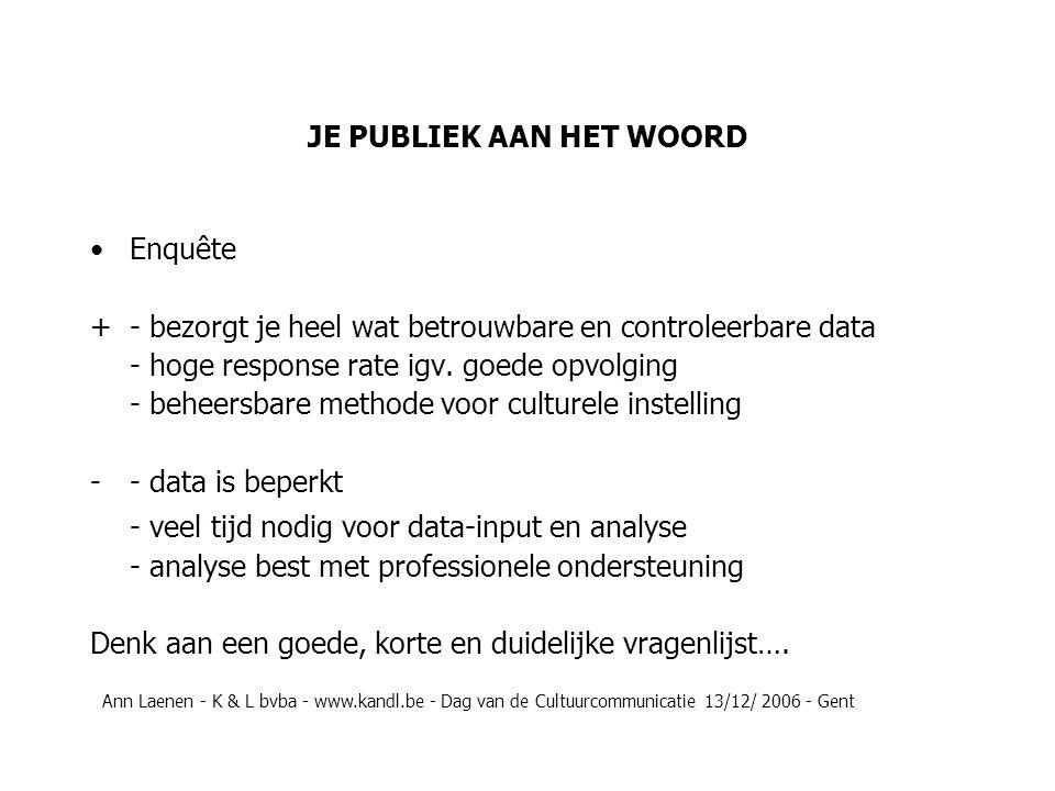JE PUBLIEK AAN HET WOORD Enquête + - bezorgt je heel wat betrouwbare en controleerbare data - hoge response rate igv.
