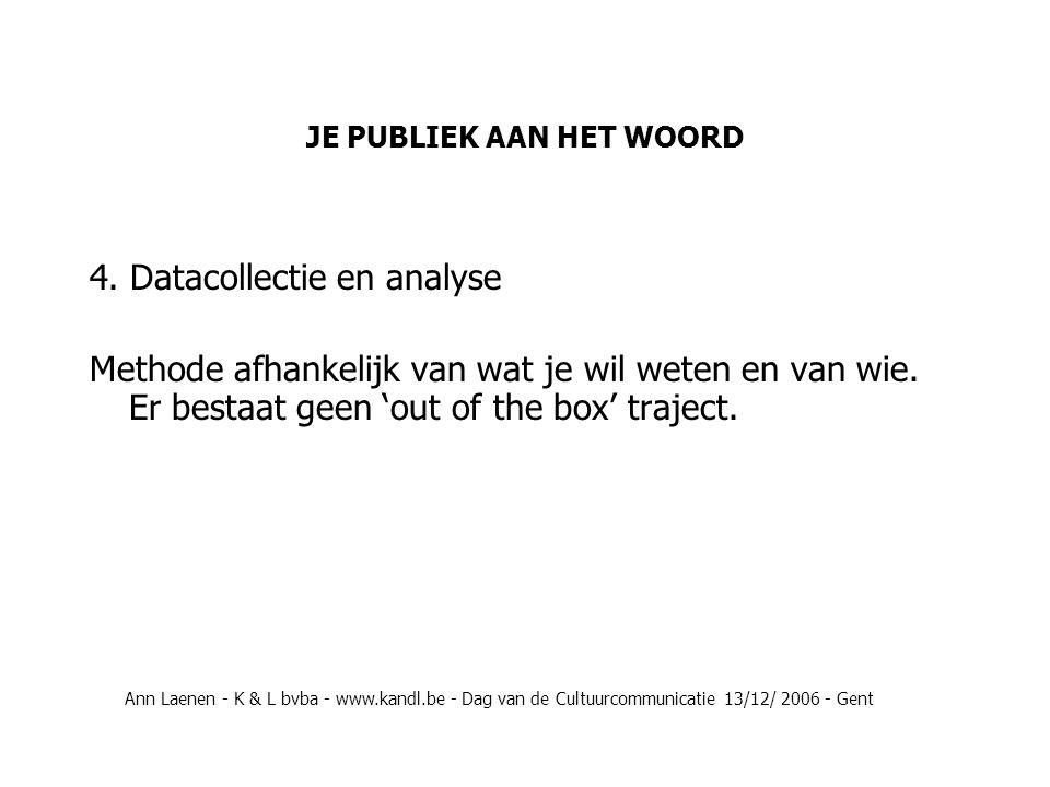 JE PUBLIEK AAN HET WOORD Welke gegevensbronnen heb je al ter beschikking en zijn bruikbaar in het onderzoek.