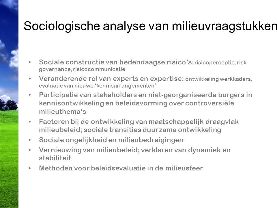 Sociologische analyse van milieuvraagstukken Sociale constructie van hedendaagse risico's : risicoperceptie, risk governance, risicocommunicatie Veran