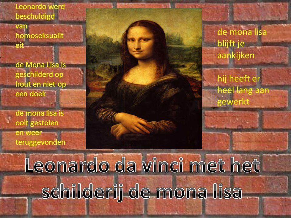 Leonardo werd beschuldigd van homoseksualit eit de Mona Lisa is geschilderd op hout en niet op een doek de mona lisa is ooit gestolen en weer teruggevonden de mona lisa blijft je aankijken hij heeft er heel lang aan gewerkt