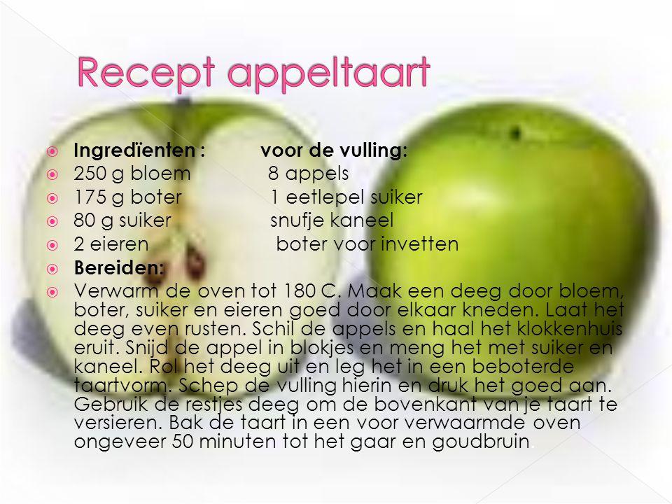  Ingredïenten : voor de vulling:  250 g bloem 8 appels  175 g boter 1 eetlepel suiker  80 g suiker snufje kaneel  2 eieren boter voor invetten 
