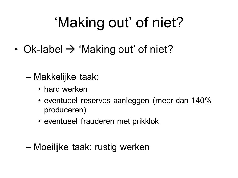 'Making out' of niet.Ok-label  'Making out' of niet.