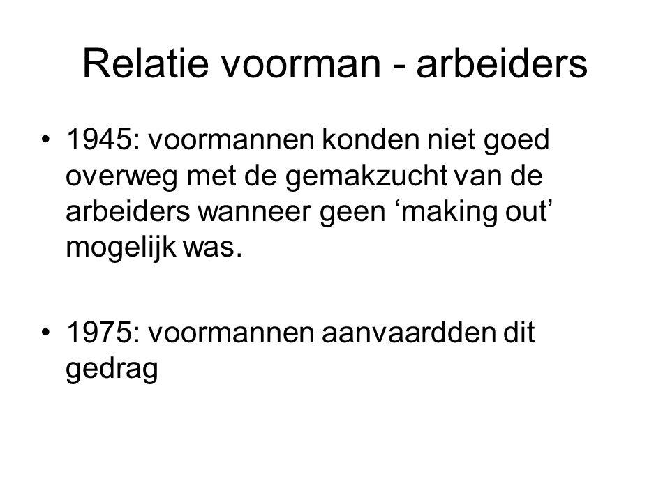 Relatie voorman - arbeiders 1945: voormannen konden niet goed overweg met de gemakzucht van de arbeiders wanneer geen 'making out' mogelijk was. 1975:
