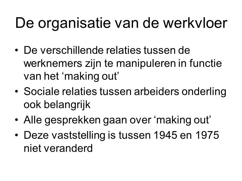 De organisatie van de werkvloer De verschillende relaties tussen de werknemers zijn te manipuleren in functie van het 'making out' Sociale relaties tu