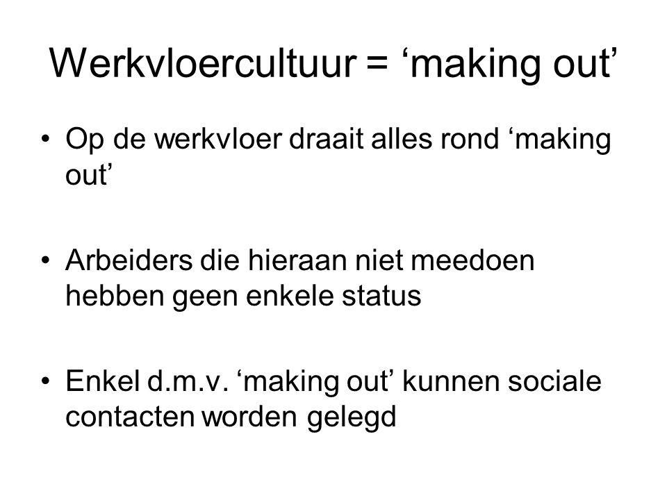 Werkvloercultuur = 'making out' Op de werkvloer draait alles rond 'making out' Arbeiders die hieraan niet meedoen hebben geen enkele status Enkel d.m.