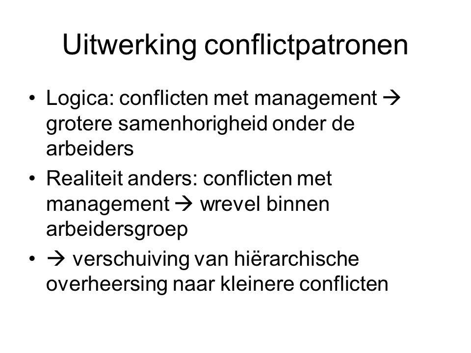 Uitwerking conflictpatronen Logica: conflicten met management  grotere samenhorigheid onder de arbeiders Realiteit anders: conflicten met management