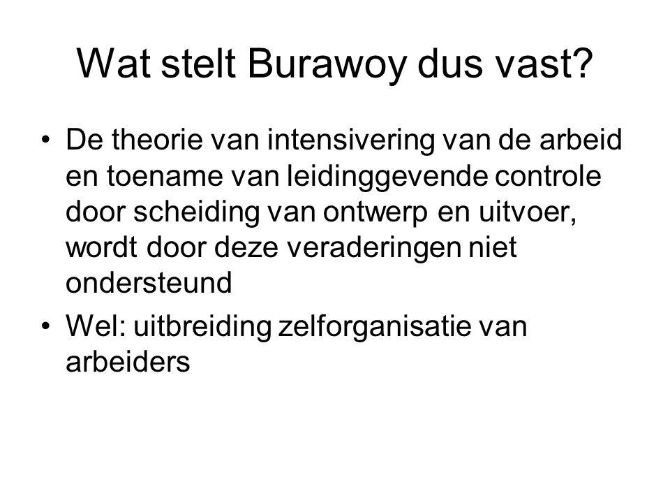 Wat stelt Burawoy dus vast? De theorie van intensivering van de arbeid en toename van leidinggevende controle door scheiding van ontwerp en uitvoer, w