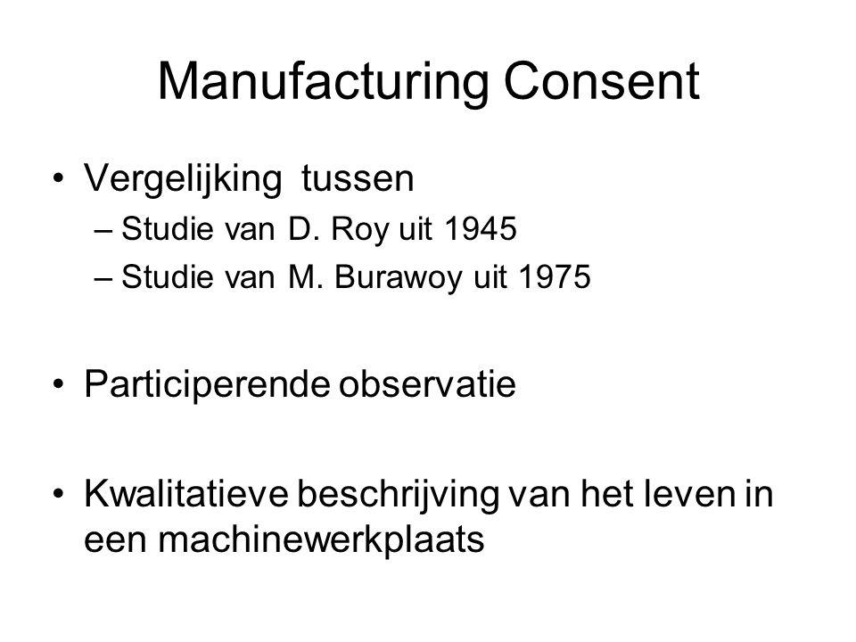 Manufacturing Consent Vergelijking tussen –Studie van D. Roy uit 1945 –Studie van M. Burawoy uit 1975 Participerende observatie Kwalitatieve beschrijv