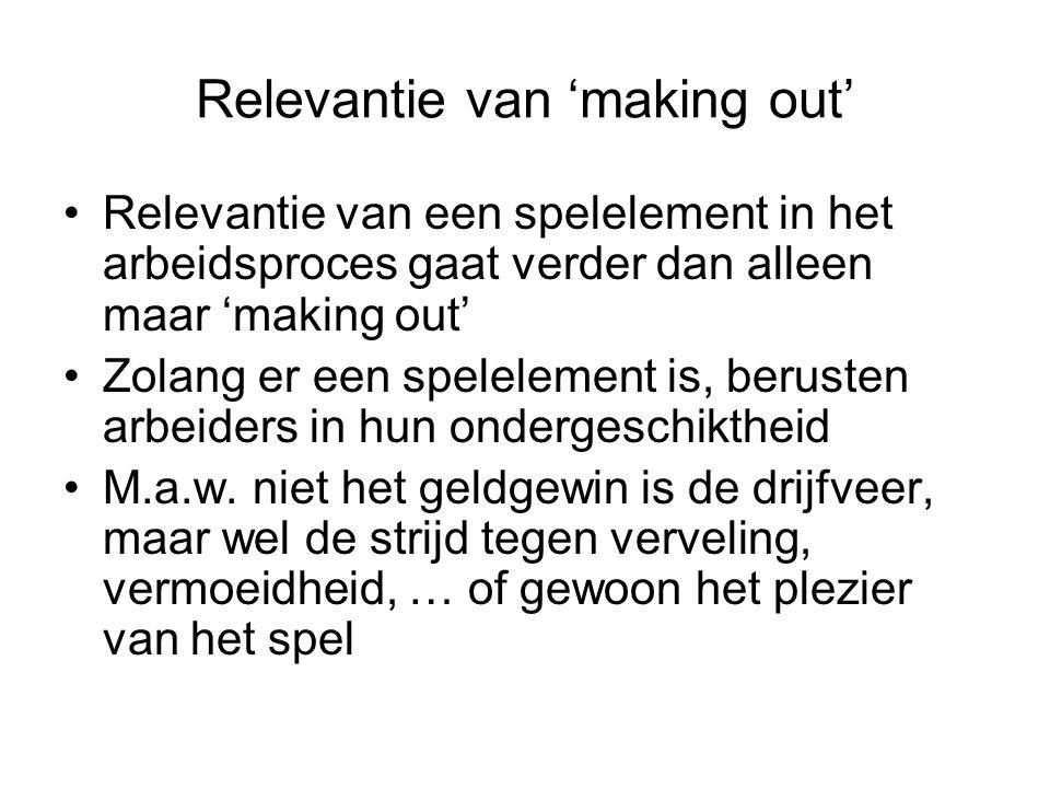 Relevantie van 'making out' Relevantie van een spelelement in het arbeidsproces gaat verder dan alleen maar 'making out' Zolang er een spelelement is,