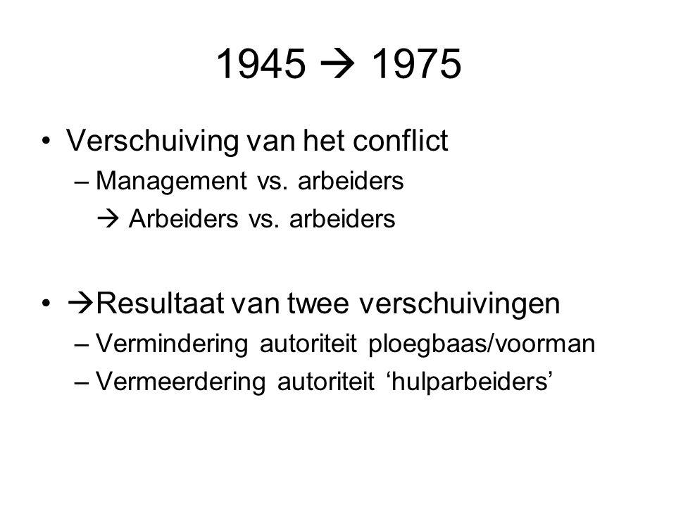 1945  1975 Verschuiving van het conflict –Management vs. arbeiders  Arbeiders vs. arbeiders  Resultaat van twee verschuivingen –Vermindering autori