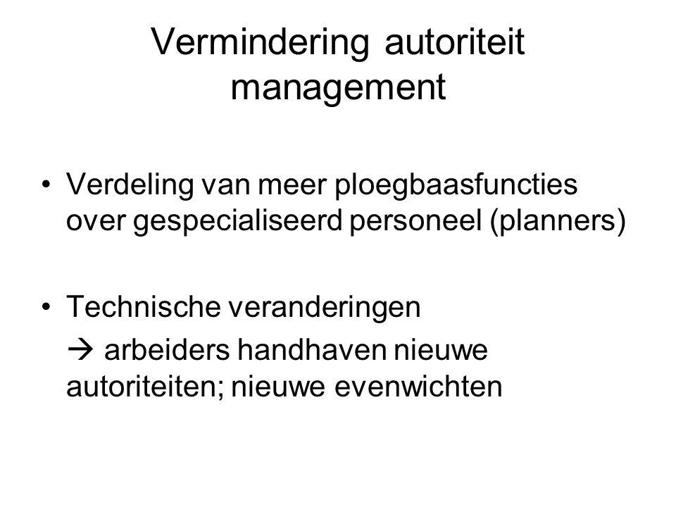 Vermindering autoriteit management Verdeling van meer ploegbaasfuncties over gespecialiseerd personeel (planners) Technische veranderingen  arbeiders