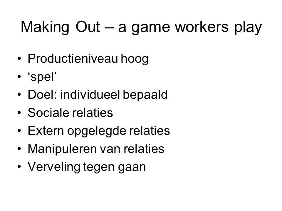 Making Out – a game workers play Productieniveau hoog 'spel' Doel: individueel bepaald Sociale relaties Extern opgelegde relaties Manipuleren van rela