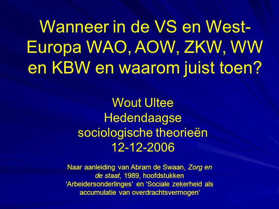 Wanneer in de VS en West- Europa WAO, AOW, ZKW, WW en KBW en waarom juist toen.