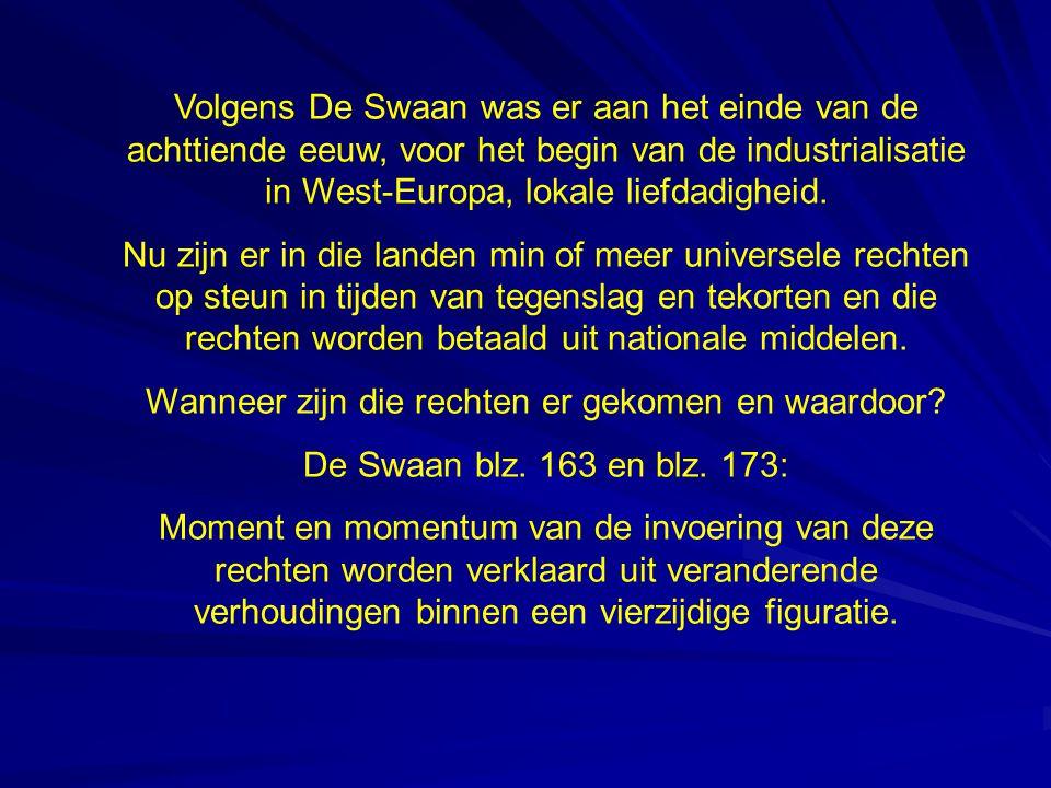 Volgens De Swaan was er aan het einde van de achttiende eeuw, voor het begin van de industrialisatie in West-Europa, lokale liefdadigheid.