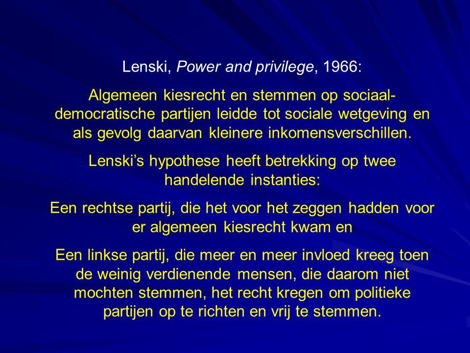 Lenski, Power and privilege, 1966: Algemeen kiesrecht en stemmen op sociaal- democratische partijen leidde tot sociale wetgeving en als gevolg daarvan kleinere inkomensverschillen.