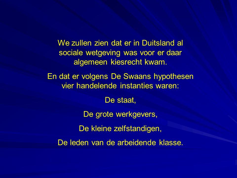 We zullen zien dat er in Duitsland al sociale wetgeving was voor er daar algemeen kiesrecht kwam.
