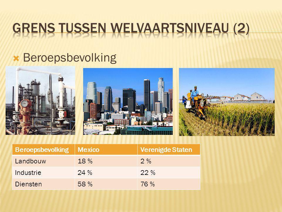  Beroepsbevolking BeroepsbevolkingMexicoVerenigde Staten Landbouw18 %2 % Industrie24 %22 % Diensten58 %76 %