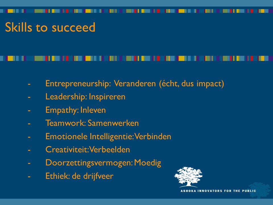 Skills to succeed -Entrepreneurship: Veranderen (écht, dus impact) -Leadership: Inspireren -Empathy: Inleven -Teamwork: Samenwerken -Emotionele Intelligentie: Verbinden -Creativiteit: Verbeelden -Doorzettingsvermogen: Moedig -Ethiek: de drijfveer