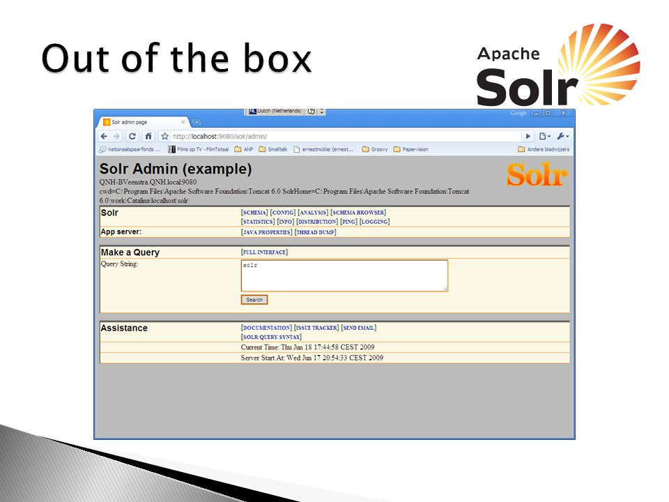  Schema.xml ◦ Hierin wordt de geindexeerde data beschreven  SolrConfig.xml ◦ Hierin wordt beschreven hoe je er bij kan komen