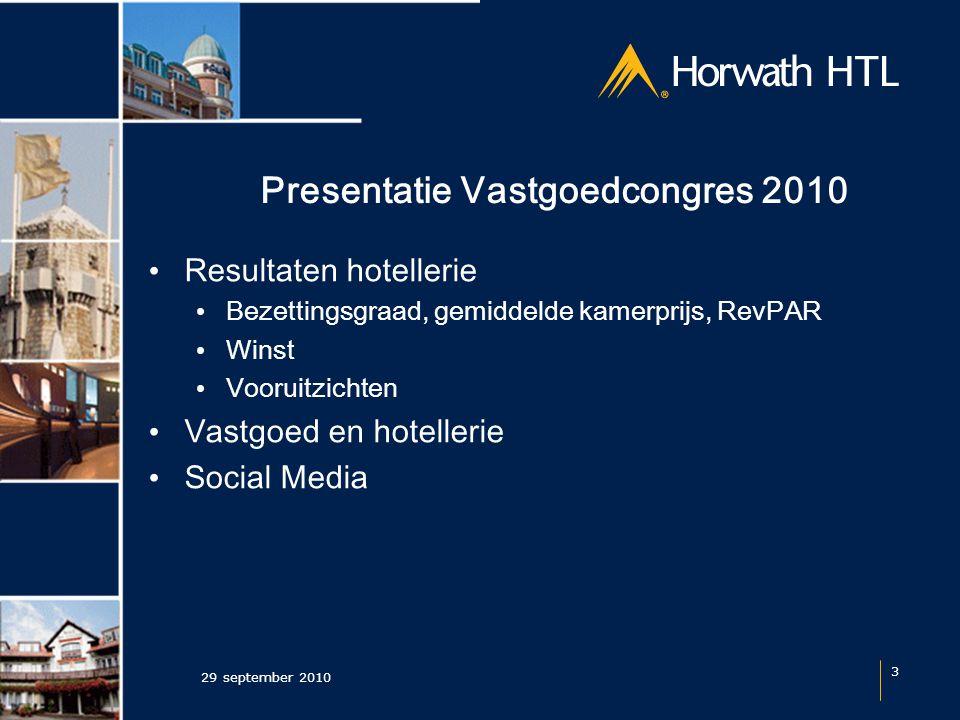 Presentatie Vastgoedcongres 2010 Resultaten hotellerie Bezettingsgraad, gemiddelde kamerprijs, RevPAR Winst Vooruitzichten Vastgoed en hotellerie Social Media 29 september 2010 3