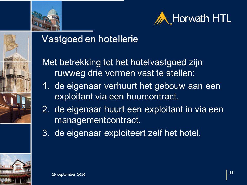 Vastgoed en hotellerie Met betrekking tot het hotelvastgoed zijn ruwweg drie vormen vast te stellen: 1.de eigenaar verhuurt het gebouw aan een exploitant via een huurcontract.
