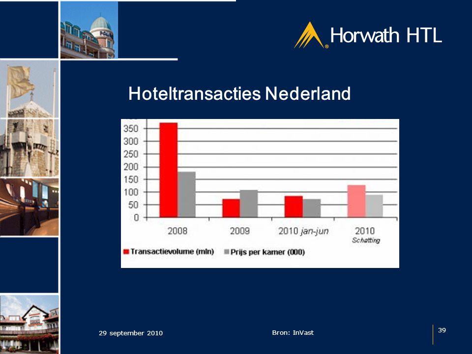 Hoteltransacties Nederland 29 september 2010 39 Bron: InVast