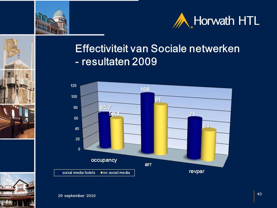Effectiviteit van Sociale netwerken - resultaten 2009 29 september 2010 43