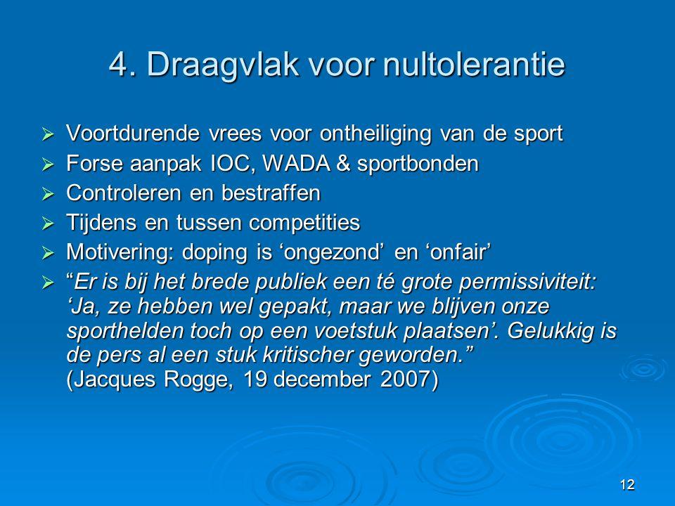 12 4. Draagvlak voor nultolerantie  Voortdurende vrees voor ontheiliging van de sport  Forse aanpak IOC, WADA & sportbonden  Controleren en bestraf