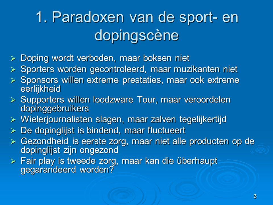 3 1. Paradoxen van de sport- en dopingscène  Doping wordt verboden, maar boksen niet  Sporters worden gecontroleerd, maar muzikanten niet  Sponsors