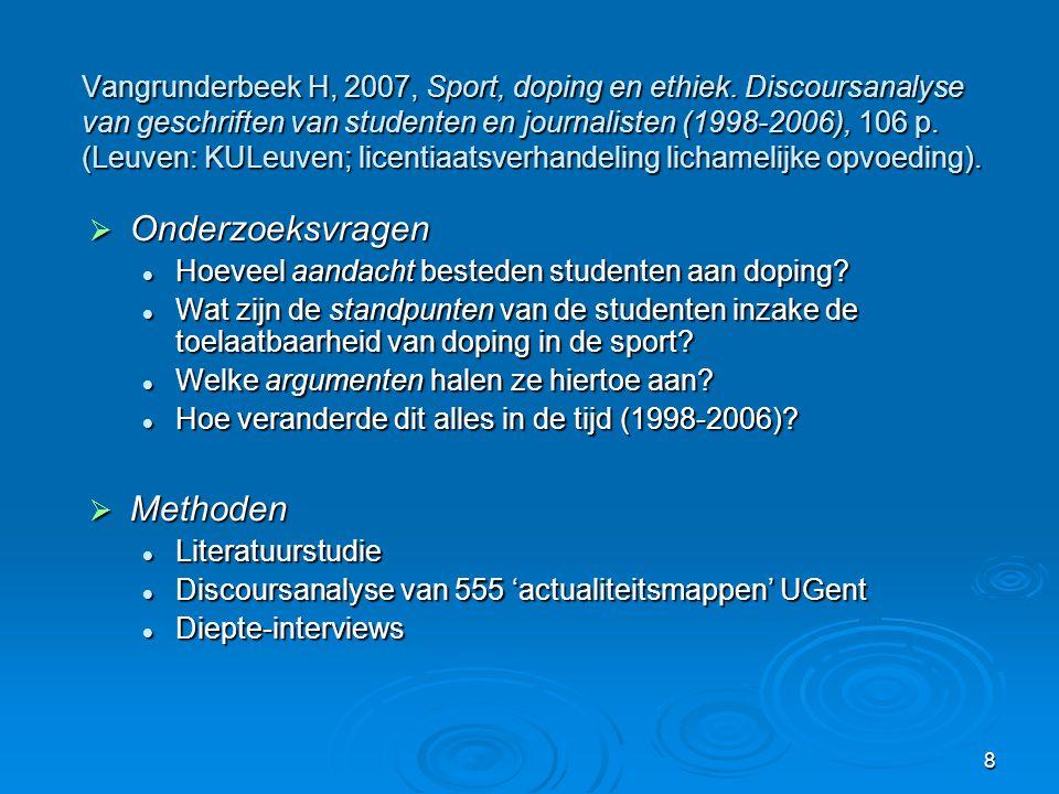 8 Vangrunderbeek H, 2007, Sport, doping en ethiek. Discoursanalyse van geschriften van studenten en journalisten (1998-2006), 106 p. (Leuven: KULeuven