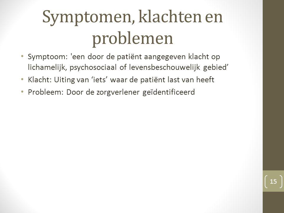 Symptomen, klachten en problemen Symptoom: 'een door de patiënt aangegeven klacht op lichamelijk, psychosociaal of levensbeschouwelijk gebied' Klacht: