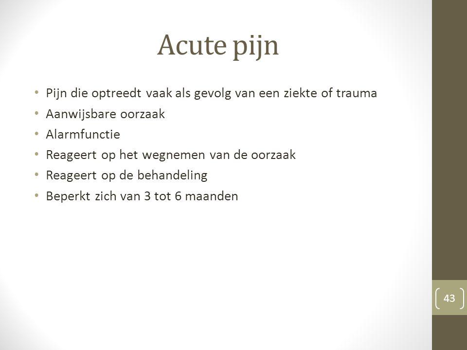 Acute pijn Pijn die optreedt vaak als gevolg van een ziekte of trauma Aanwijsbare oorzaak Alarmfunctie Reageert op het wegnemen van de oorzaak Reageer