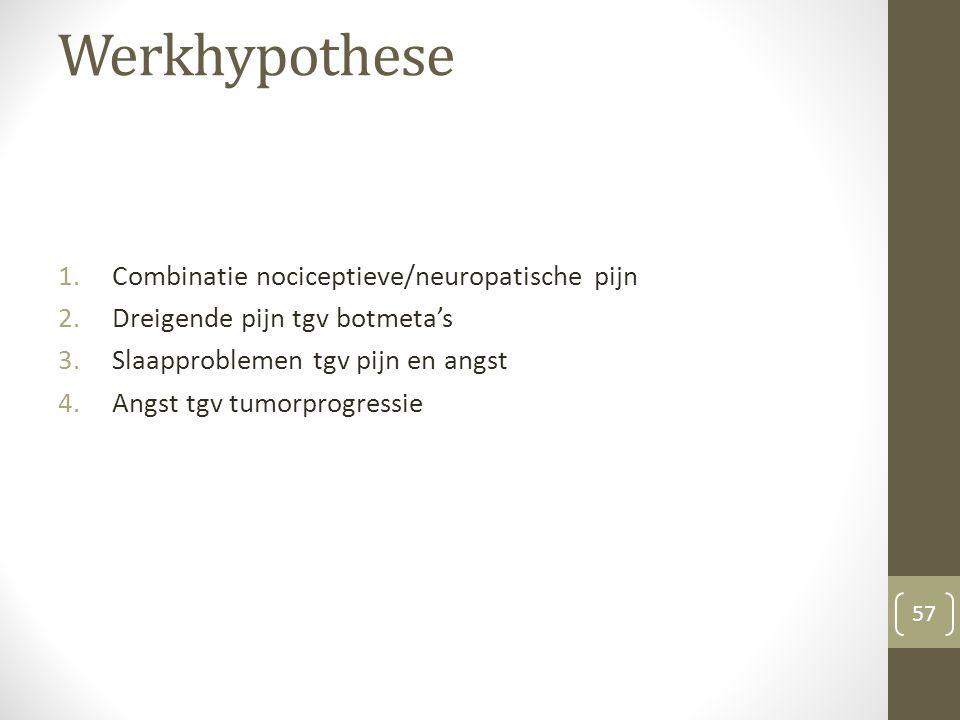 Werkhypothese 1.Combinatie nociceptieve/neuropatische pijn 2.Dreigende pijn tgv botmeta's 3.Slaapproblemen tgv pijn en angst 4.Angst tgv tumorprogress
