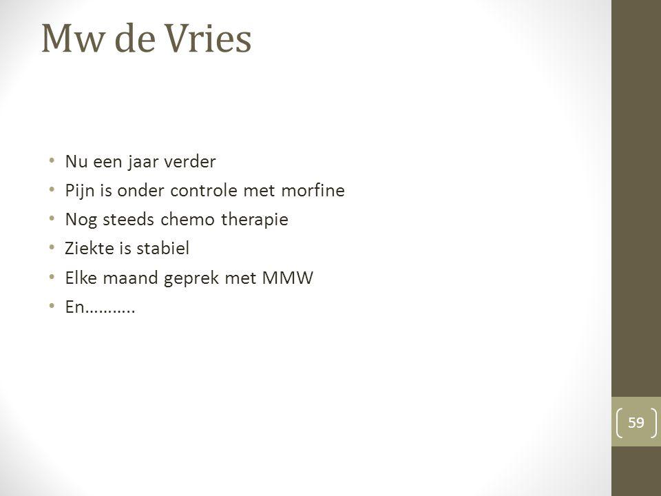 Mw de Vries Nu een jaar verder Pijn is onder controle met morfine Nog steeds chemo therapie Ziekte is stabiel Elke maand geprek met MMW En……….. 59