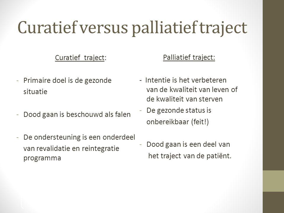Curatief versus palliatief traject Curatief traject: -Primaire doel is de gezonde situatie -Dood gaan is beschouwd als falen -De ondersteuning is een