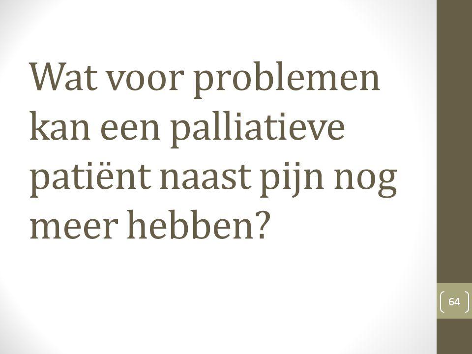Wat voor problemen kan een palliatieve patiënt naast pijn nog meer hebben? 64
