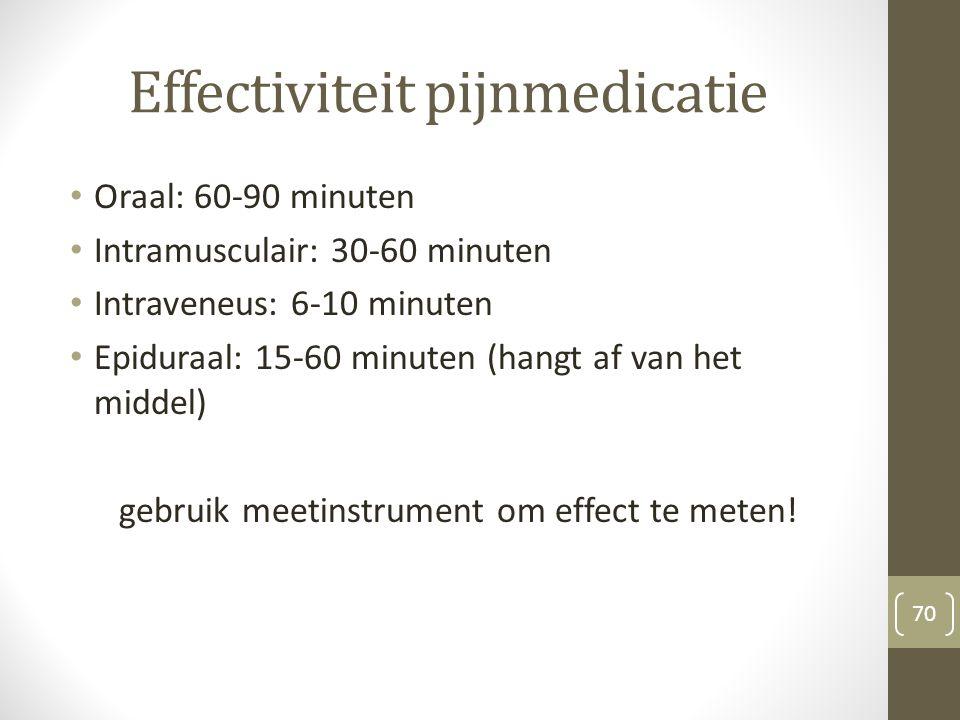 Effectiviteit pijnmedicatie Oraal: 60-90 minuten Intramusculair: 30-60 minuten Intraveneus: 6-10 minuten Epiduraal: 15-60 minuten (hangt af van het mi