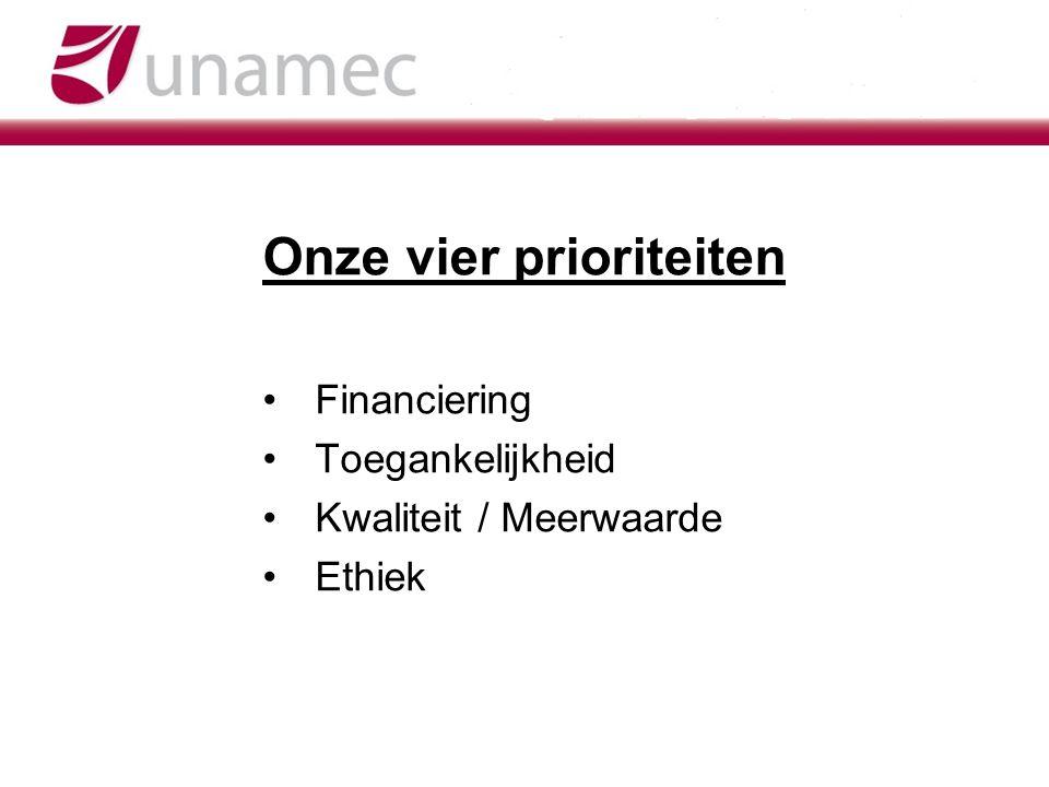 Onze vier prioriteiten Financiering Toegankelijkheid Kwaliteit / Meerwaarde Ethiek