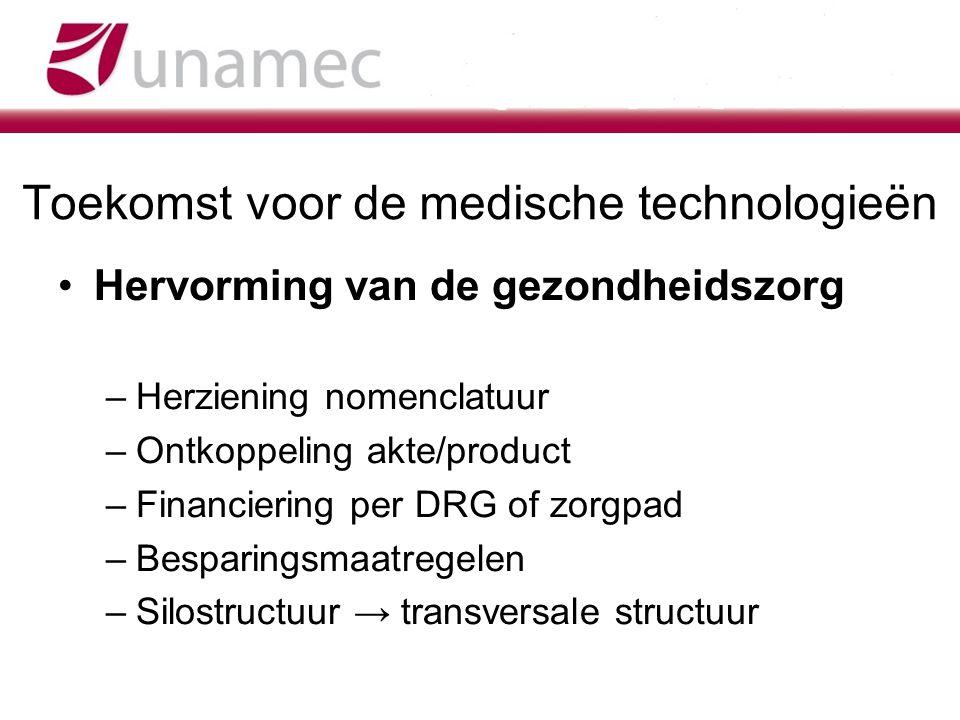 Toekomst voor de medische technologieën Hervorming van de gezondheidszorg –Herziening nomenclatuur –Ontkoppeling akte/product –Financiering per DRG of