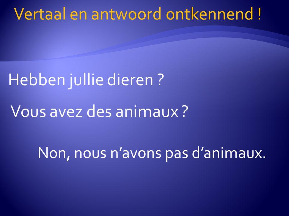 Hebben jullie dieren ? Vertaal en antwoord ontkennend ! Vous avez des animaux ? Non, nous n'avons pas d'animaux.