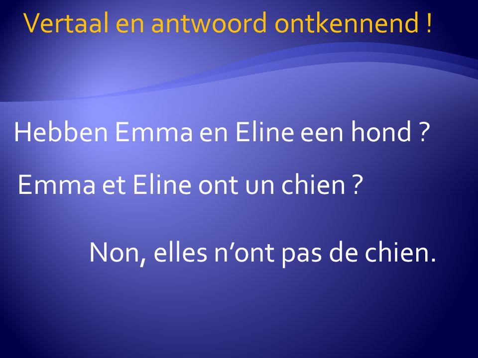 Hebben Emma en Eline een hond ? Vertaal en antwoord ontkennend ! Emma et Eline ont un chien ? Non, elles n'ont pas de chien.